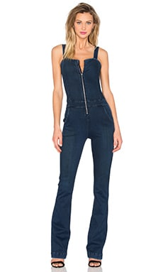 Zip Front Flare Jumpsuit in Hall