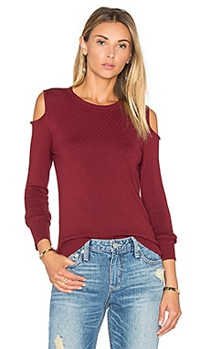 Open Shoulder Sweater in Malbec