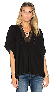 Lace Front Poncho in Black