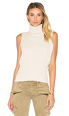 Cable Rib Sleeveless Crop Sweater in French Vanilla