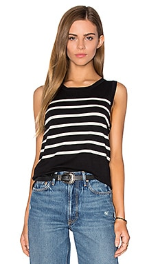 Parisenne Stripe Sweater Vest in Black Combo