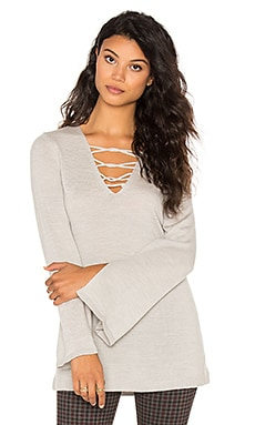 Lace Front Sweater in Grey