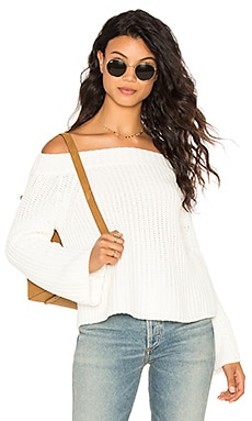 Off Shoulder Sweater in White Cap