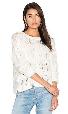 Cable Knit Sweater in White Cap