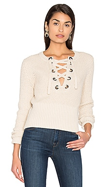 Lace Up Sweater in French Vanilla