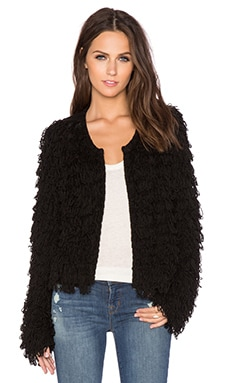 Crop Fringe Jacket in Black