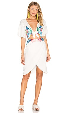 Embroidered Flora Dress in Moonlight White