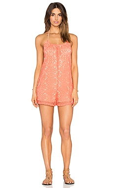 Sandy Dune Lace Romper in Peach