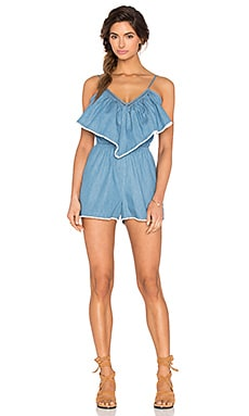 Overlay Picnic Romper in Blue Chambray
