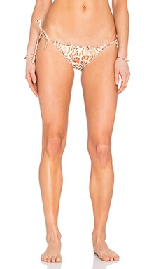 Side Tie Bikini Bottom in Folhagen Girafa