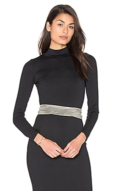 Midi Wrap Belt in Grey Suede