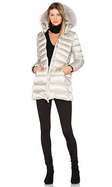 Down Coat with Asiatic Raccoon Fur in Silver