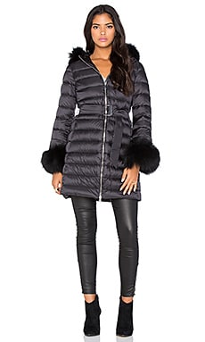 Down Coat with China Raccoon Fur Collar and Cuff in Black