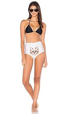 Cat Print Bikini in Beige & Black