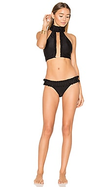 Frilled Neckline Bikini Set in Black