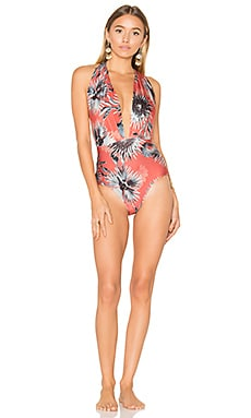 Maxi Flower Halter Neck Swimsuit in Coral