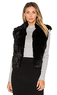 Rabbit Fur Vest in Black