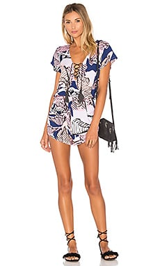 Shotgun Lace Up Romper in Stained Palm