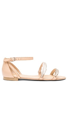 Pressed Leather Feather Sandal in Nude & Gold