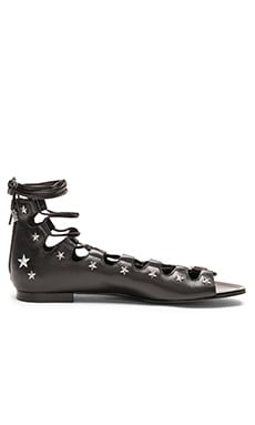 Star Studded Lace Up Sandal in Black