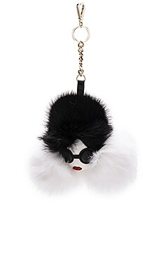 Stace Face Rabbit Fur Charm in Cream & Black