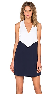 Maya Dress in White & Navy