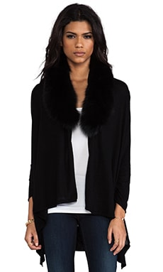 Izzy Cascade Fox Fur Cardigan in Black