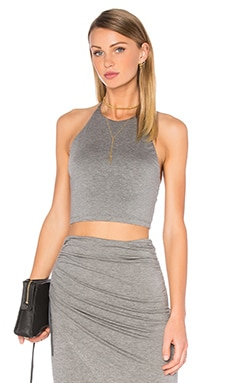 Jaymee Halter Crop Top in Medium Grey