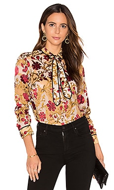 Cora Contrast Blouse in Medieval Floral