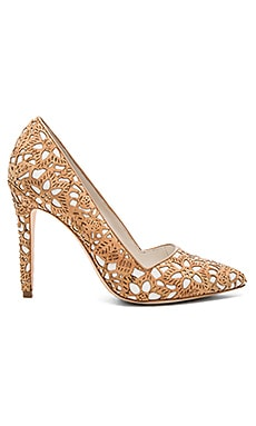 Dina Three Heel in Natural Laser Cut Cork & White Canvas