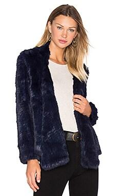 Lapel Rabbit Fur Jacket in Ink
