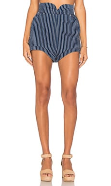 August Day Short in Indigo Pinstripe