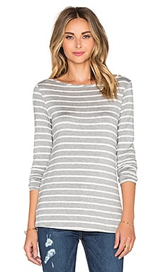 Francoise Tee in Heather Grey & Ivory Stripe