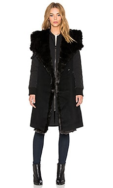 Faux Fur Collar 2-in-1 Memory Jacket in Black