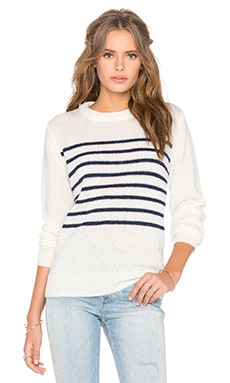 Mohair Crew Neck Knit Top in Clear Stripe Knit