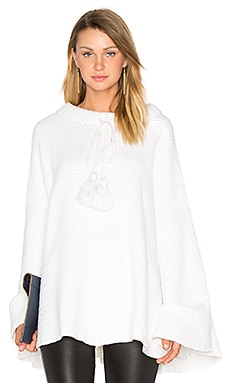 Long Tassel Cords Poncho in White