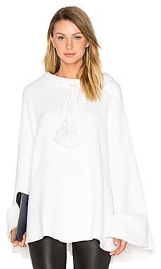 Long Tassel Cords Poncho in White