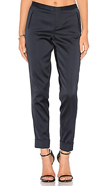 Stretch Satin Classic Slim Pant in Midnight