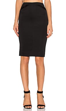 Tuxedo Pencil Skirt in Black