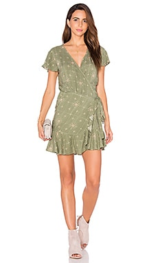 Frill Wrap Dress in Khaki