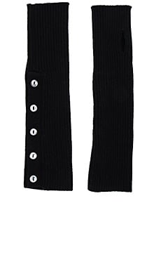 Buttoned Rib Arm Warmers in Black