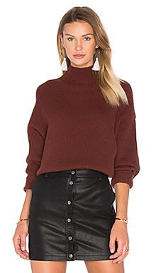 Oversized Mock Neck Sweater in Redwood