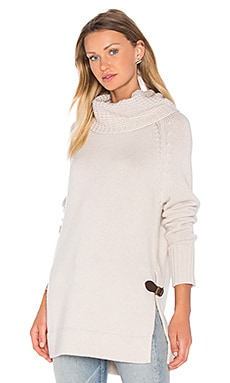 Cowl Neck Side Buckle Sweater in Linen