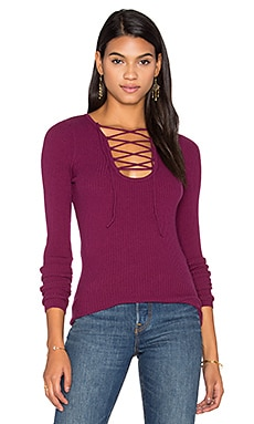 Lace Up Rib Sweater in Chianti