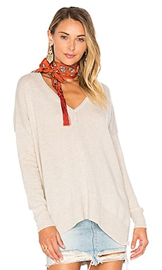 Side Slit V Neck Sweater in Mohave