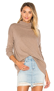High Low Turtleneck Sweater in Cardboard