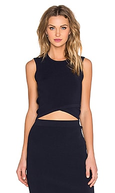 Criss Cross Crop Top in Navy