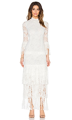 Angela Midi Dress in White Lace