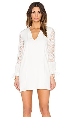 Maxine Long Sleeve Dress in White Lace