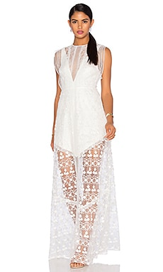 Kasia Long Dress in White Flower Embroidery